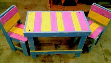 Colorful Pallet Table with Chairs