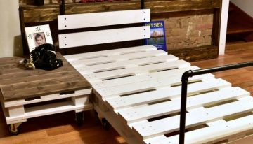 Reclaimed Wood Pallet Bed with Pipes