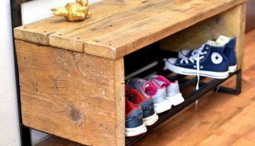 Reclaimed Pallet Side Table Cum Shoe Rack