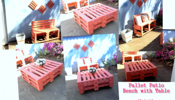 Pallet Patio Bench with Table