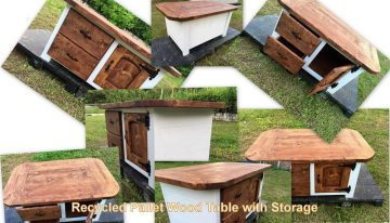 Recycled Pallet Wood Table with Storage