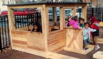 Pallet Play House with a Sandbox